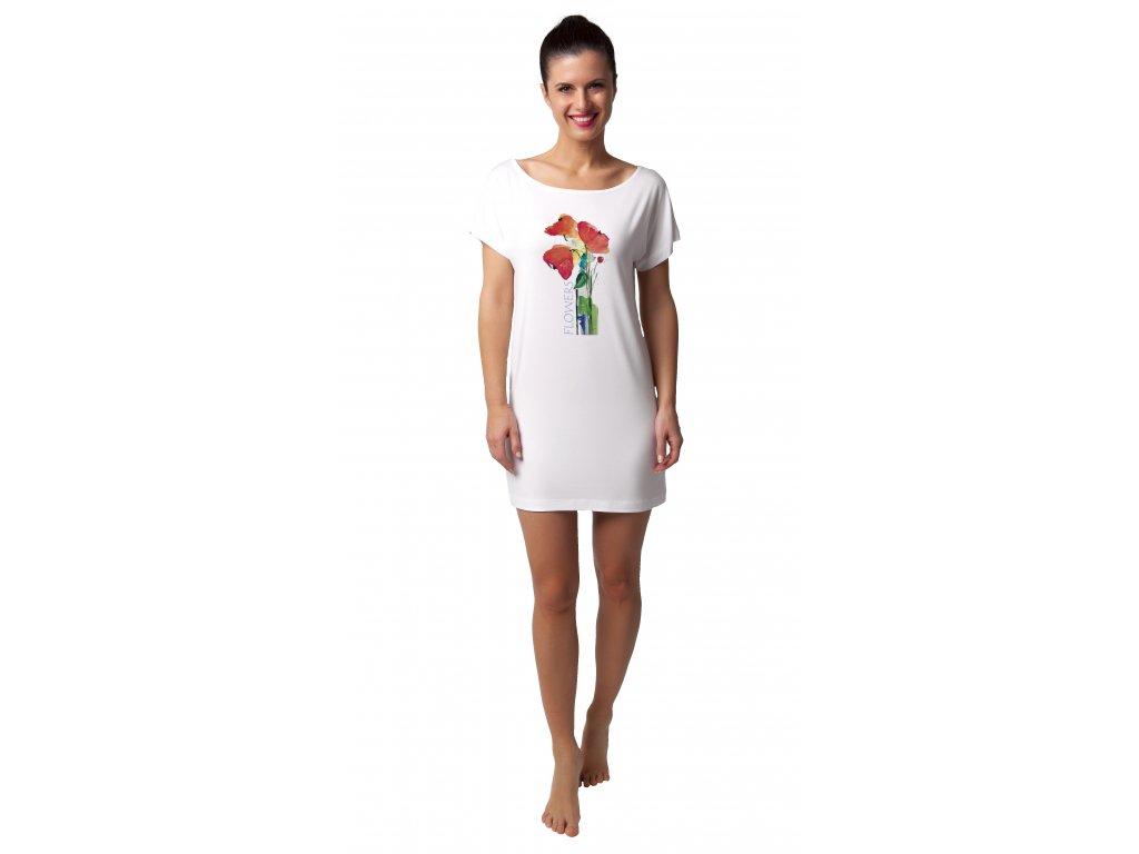 Dámská noční košile CALVI 20-207 - červené květy (Velikost XXL)