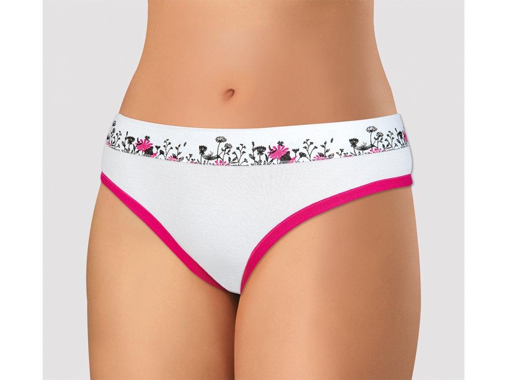 Dámské kalhotky ANDRIE PS2782 - bílé, růžový lem (Velikost XL(46/48))