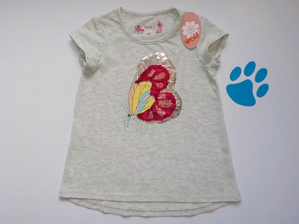 Dívčí triko s flitry WOLF S2815 - šedé (Velikost 128)
