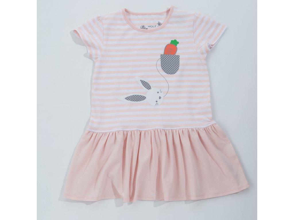 Dívčí tunika(šaty) WOLF S2817 - pudrová (Velikost 128)