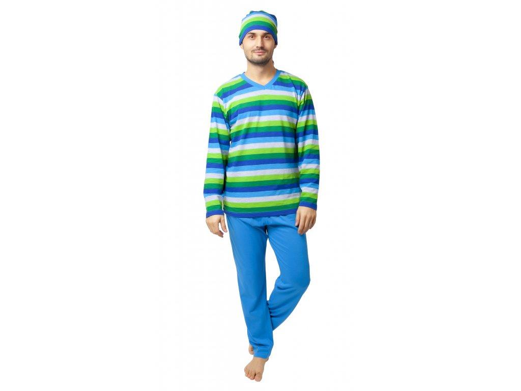 Pánské pyžamo Calvi 20-139 - pruhované, barevný mix