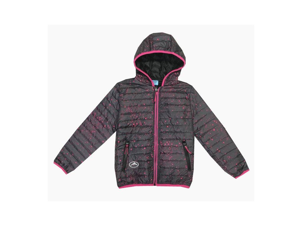 Dívčí bunda KUGO K6200 - tm. šedá, růžový zip (Velikost 8let)
