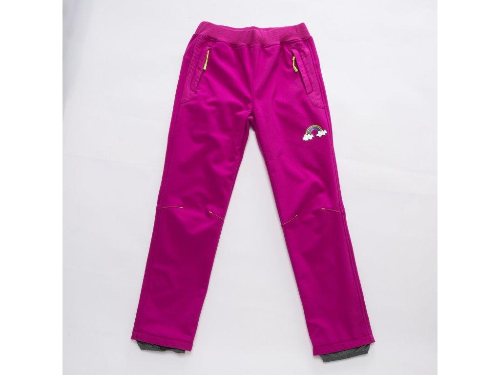 Dívčí softshellové kalhoty B2892 - růžové, s flísem na vnitřní straně (Velikost 146)