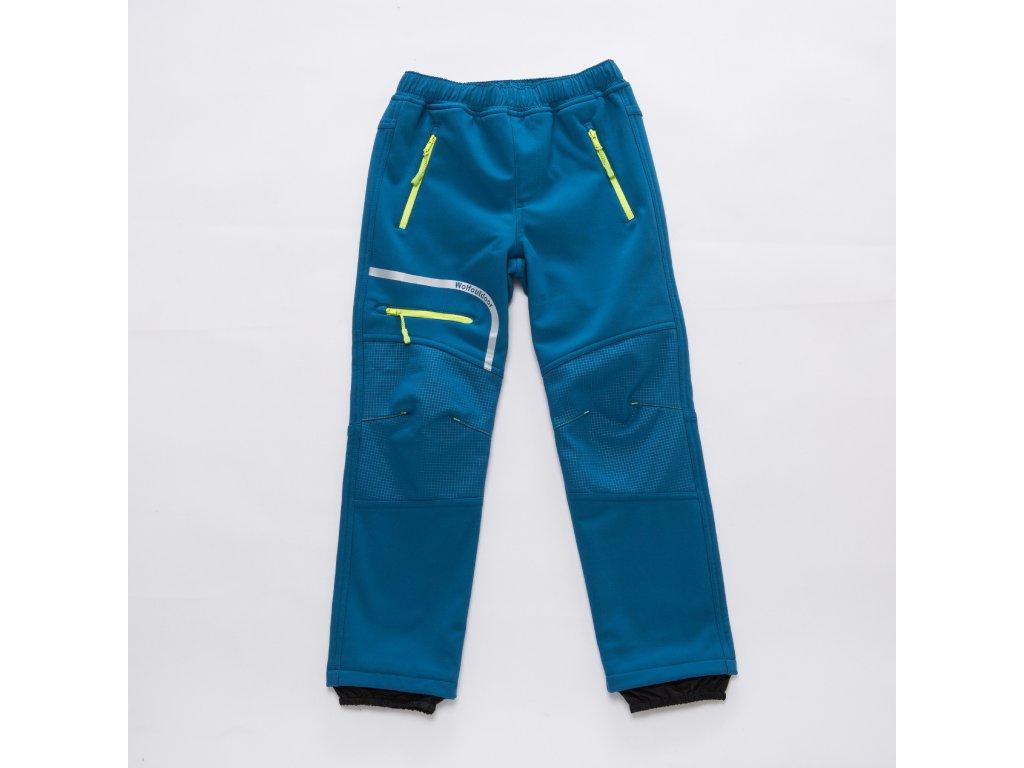 Chlapecké softshellové kalhoty B2894 - modré, s flísem na vnitřní straně (Velikost 146)