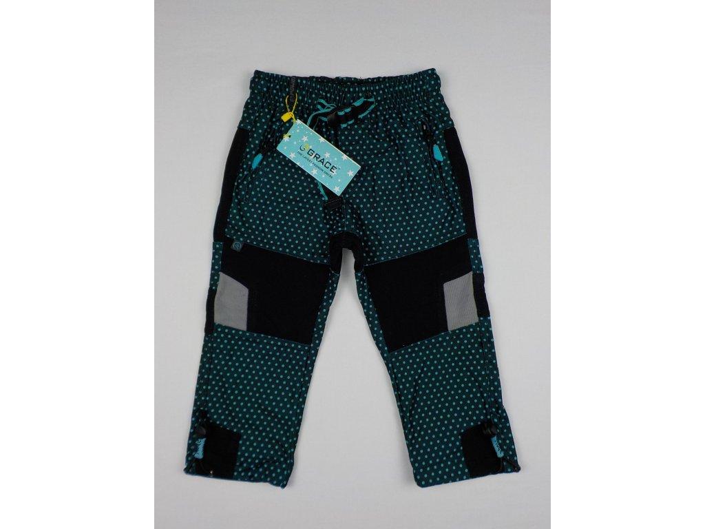 Dívčí outdoorové kalhoty Grace B-50200 - zelinkavý puntík (Velikost 116)