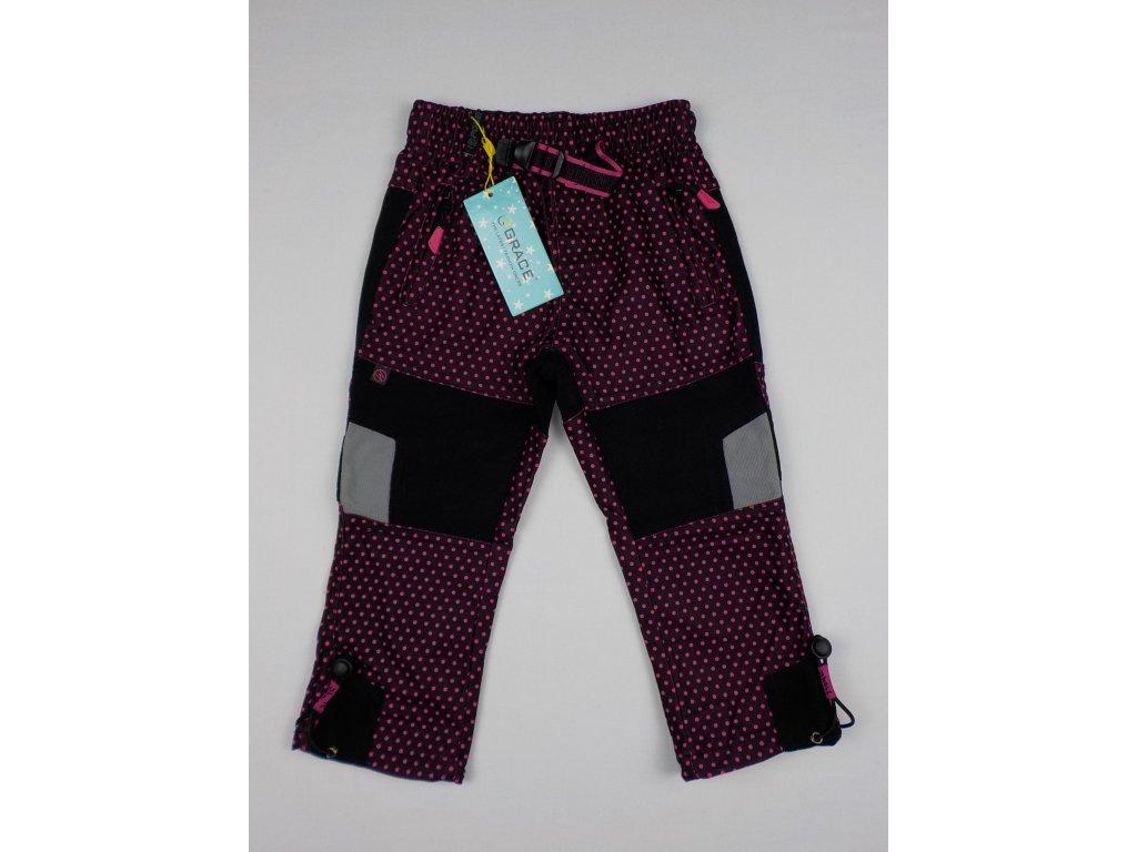 Dívčí outdoorové kalhoty Grace B-50200 - růžový puntík (Velikost 116)