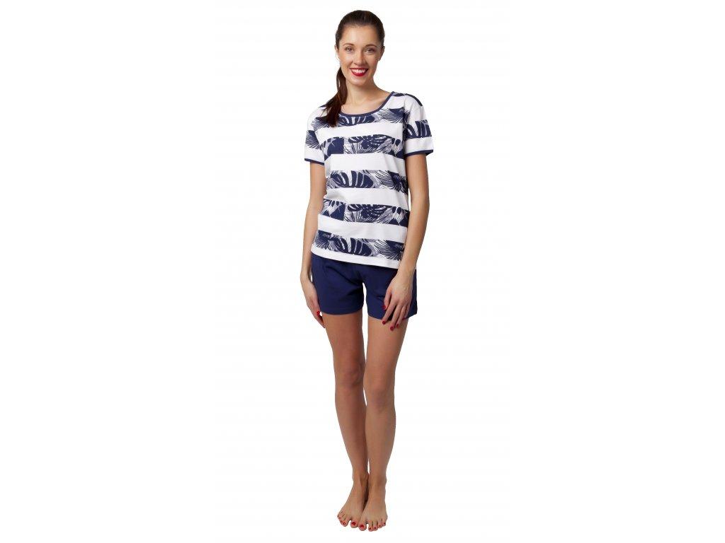 Dámské pyžamo s kraťasy CALVI 20-125 - modrobílé
