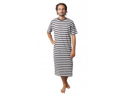 Pánská noční košile CALVI 18-407 - šedobílý pruh