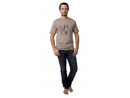Pánské triko CALVI 13-076 - sv. hnědé