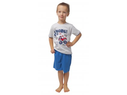 Chlapecké pyžamo s kraťasy CALVI 19-075 - šedý melír