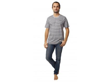 Pánské triko CALVI 20-072 - šedé, tm. šedý pruh