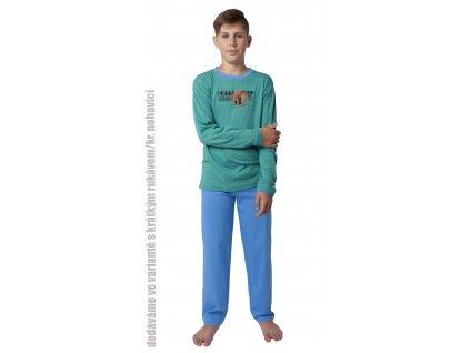 Chlapecké pyžamo s kraťasy CALVI 18-401 - modrozelený pruh