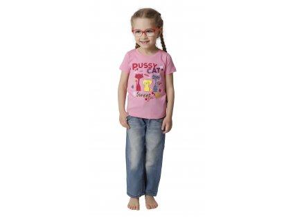 Dívčí triko CALVI 18-114 - růžové