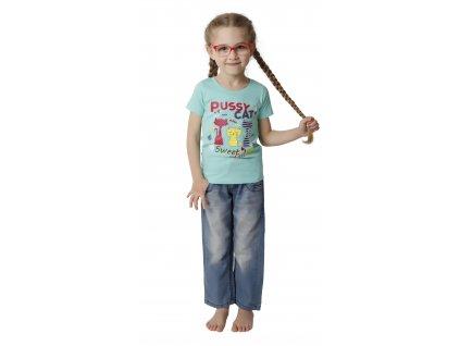Dívčí triko CALVI 18-114 - sv. tyrkysové
