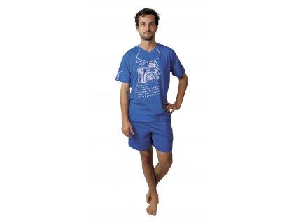Pánské pyžamo s kraťasy CALVI 17-589 - tmavší modrá