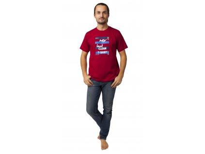 Pánské triko CALVI 20-077 - vínové