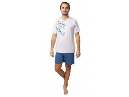 Pánské pyžamo s kraťasy CALVI 20-129 - bílé