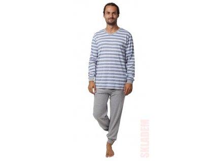 Pánské pyžamo CALVI 19-556 - modrošedé