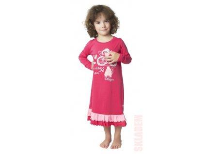 Dívčí dlouhá noční košile CALVI 18-317 - růžová