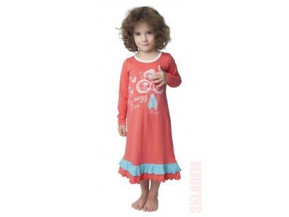 Dívčí dlouhá noční košile CALVI 18-317 - lososová