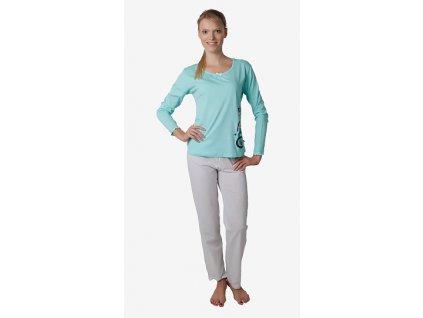 Dámské pyžamo CALVI 17-580 - zelinkavé