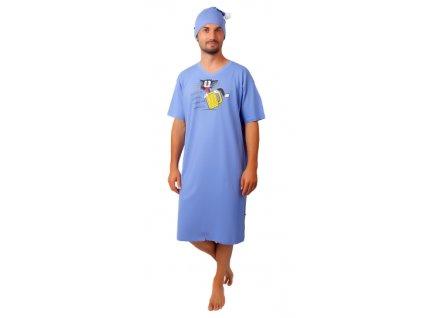 Pánská noční košile CALVI - 20-361 - sv. modrá