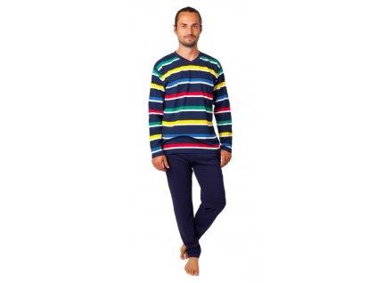 Pánské pyžamo CALVI 20-381 - tm. modré, barevné pruhy