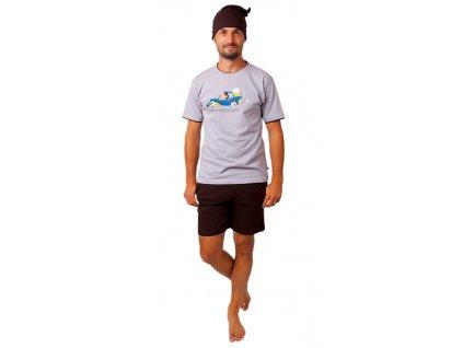 Pánské pyžamo CALVI 20-374 - béžové, hnědé