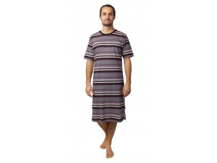 Pánská noční košile CALVI - 20-116 - šedá/vínová, pruh