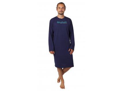 Pánská noční košile CALVI - 20-362 - tm. modrá
