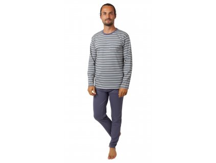 Pánské pyžamo CALVI 20-385 - šedozelené