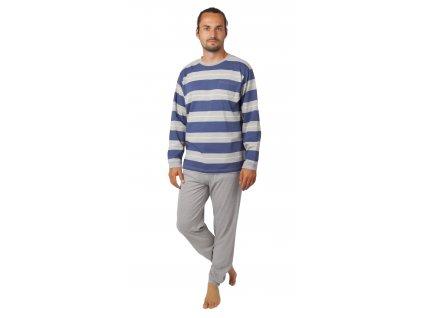 Pánské pyžamo CALVI 20-389 - šedé, pruh