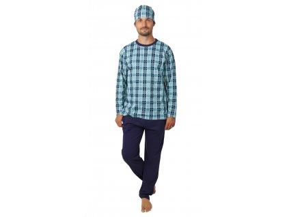 Pánské pyžamo CALVI 20-378 - tyrkys/tm. modrá