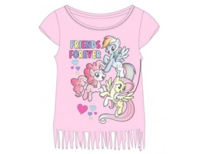 Dívčí triko MY LITTLE PONY 5202822 - sv. růžové s třásněmi