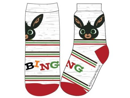 Dětské ponožky ZAJÍČEK BING 5234003 - sv. šedý melír/červená