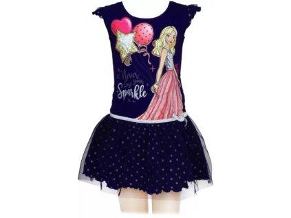 Dívčí šaty BARBIE 640049 - tm. modré