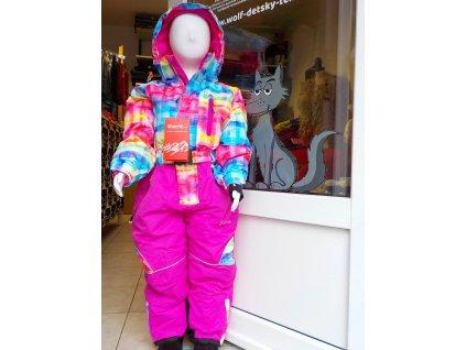 Dívčí kombinéza ECHT sports HA05 - růžová, duhová (Velikost 98/104)