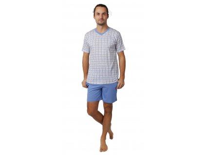 Pánské pyžamo CALVI 21-347 - s kraťasy, světle modré/kostka