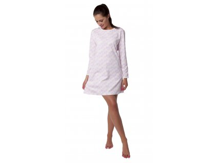 Dámská noční košile CALVI 19-513 - dlouhý rukáv, bílorůžová