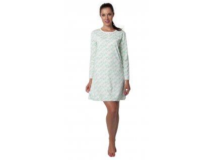 Dámská noční košile CALVI 19-513 - dlouhý rukáv, bílozelinkavá