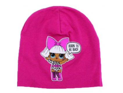 Dívčí bavlněná čepice LOL 9106 - tm. růžová