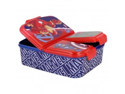 Svačinový box AVENGERS 57720 - 3 přihrádky, červenomodrý