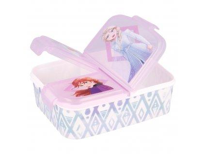 Svačinový box FROZEN 51020 - 3 přihrádky, bílý/růžový