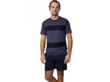 Pánské pyžamo Calvi 21-350 - tm. modrá/černá