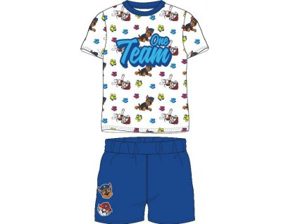 Dětské pyžamo TLAPKOVÁ PATROLA 52041412 - krátké, bílá/modrá