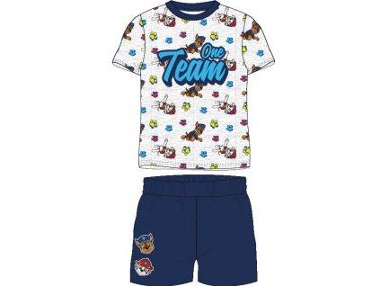 Dětské pyžamo TLAPKOVÁ PATROLA 52041412 - krátké, šedý melír/tm. modrá