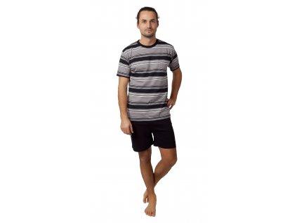 Pánské pyžamo CALVI 21-346 - černošedé