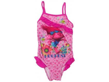Dívčí jednodílné plavky TROLLS 052864 - růžové