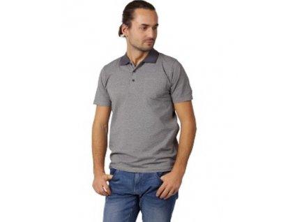 Pánské triko s límečkem CALVI 21-313 - temně šedé