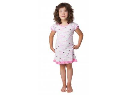 Dívčí noční košile CALVI 20-121 - šedobílá/růžová